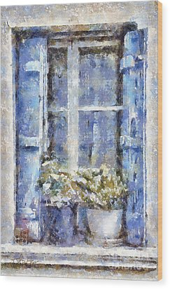 Blue Window Wood Print by Shirley Stalter