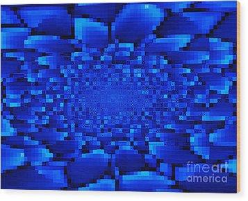 Blue Windows Abstract Wood Print by Carol Groenen