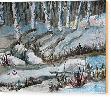 Blue Winter Wood Print by Mindy Newman