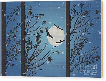 Wood Print featuring the digital art Blue Winter Moon by Kim Prowse