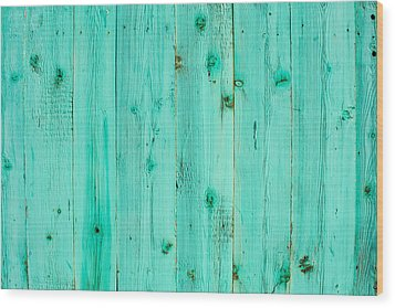 Blue Wooden Planks Wood Print by John Williams