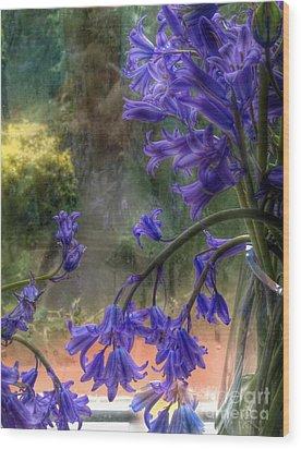 Bluebells In My Garden Window Wood Print