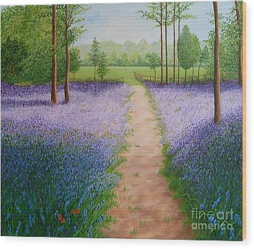 Bluebells With Butterflies Wood Print