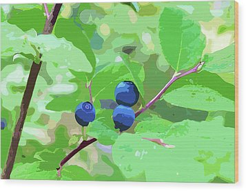 Blueberries Halftone Wood Print by Cathy Mahnke