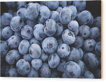 Blueberries Wood Print by Happy Home Artistry