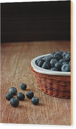 Blueberries In Wicker Basket Wood Print by © Brigitte Smith