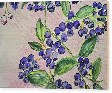 Wood Print featuring the painting Blueberries by Kim Nelson