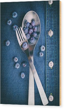 Blueberries On Denim II Wood Print