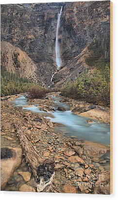 Wood Print featuring the photograph Blueberry Blue Waters Under Takakkaw Falls by Adam Jewell