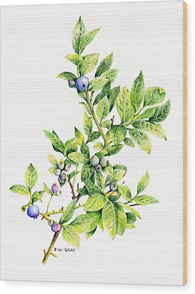 Blueberry Branch Wood Print