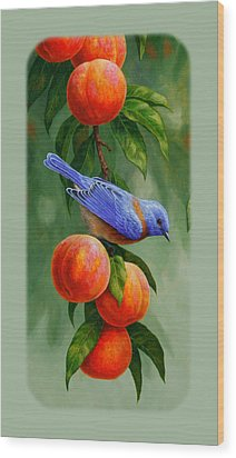 Bluebird And Peach Tree Iphone Case Wood Print by Crista Forest
