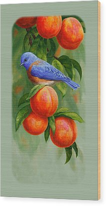 Bluebird And Peaches Iphone Case Wood Print by Crista Forest