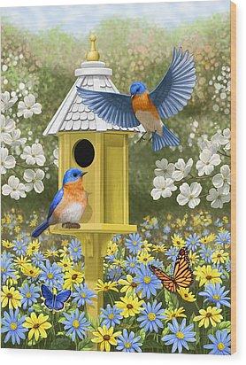 Bluebird Garden Home Wood Print by Crista Forest