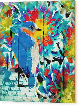 Bluebird Pop Art Wood Print