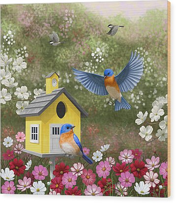 Bluebirds And Yellow Birdhouse Wood Print