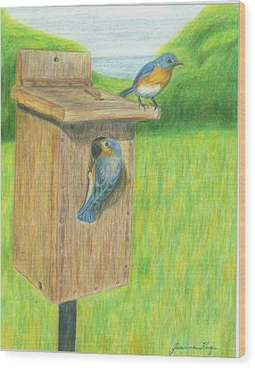 Wood Print featuring the painting Bluebirds by Jeanne Kay Juhos