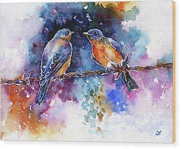 Wood Print featuring the painting Bluebirds by Zaira Dzhaubaeva
