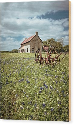 Wood Print featuring the photograph Bluebonnet Fields by Linda Unger