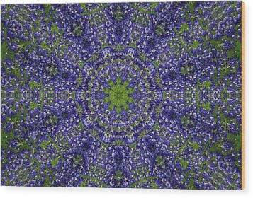 Bluebonnet Lace Kaleidoscope Wood Print by Robyn Stacey
