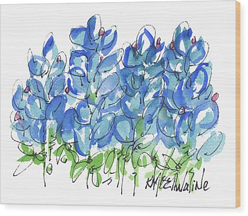 Bluebonnet Dance Whimsey,by Kathleen Mcelwaine Southern Charm Print Watercolor, Painting, Wood Print
