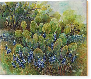 Bluebonnets And Cactus 2 Wood Print by Hailey E Herrera