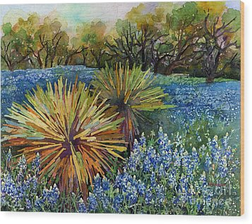 Wood Print featuring the painting Bluebonnets And Yucca by Hailey E Herrera