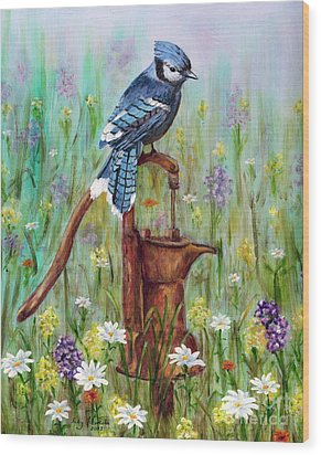 Wood Print featuring the painting Bluejay Peaceful Perch by Judy Filarecki