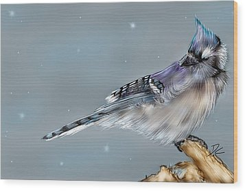 Wood Print featuring the digital art Winter Bluejay by Darren Cannell