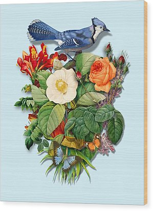 Bluejay With Flowers Wood Print by Gary Grayson