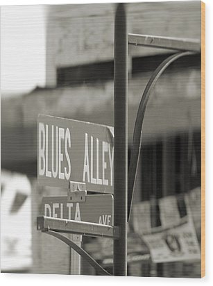 Blues Alley Street Sign Wood Print