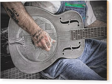 Blues And Tattoos Wood Print by Marion Johnson