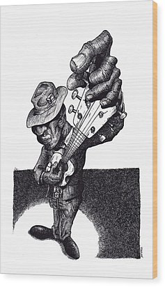 Blues Guitar Wood Print by Tobey Anderson