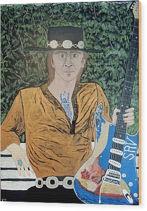 Blues In The Park With Stevie Ray Vaughan. Wood Print by Ken Zabel