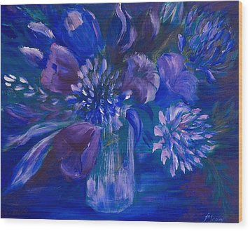 Blues To Brighten Your Day Wood Print by Joanne Smoley