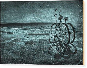 Bluescape Wood Print by Evelina Kremsdorf