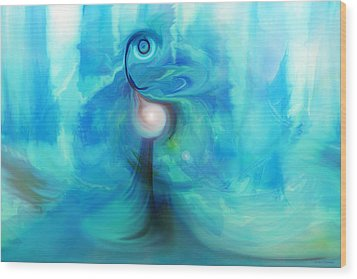 Wood Print featuring the digital art Bluescape by Linda Sannuti