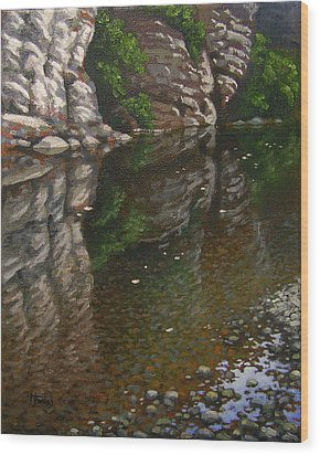 Bluff Reflections Buffalo River Wood Print by Timothy Jones