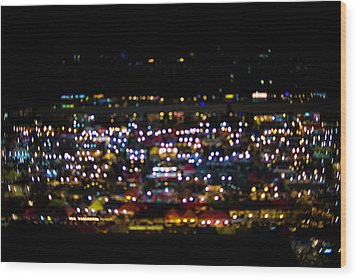 Blurred City Lights  Wood Print