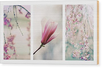 Wood Print featuring the photograph Blush Blossom Triptych by Jessica Jenney