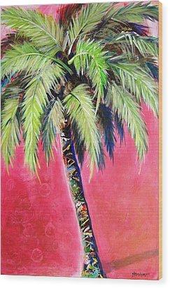 Blushing Pink Palm Wood Print by Kristen Abrahamson