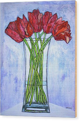 Blushing Red Tulips Wood Print by Janet Immordino