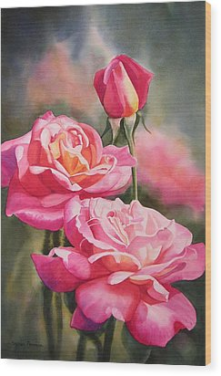 Blushing Roses With Bud Wood Print