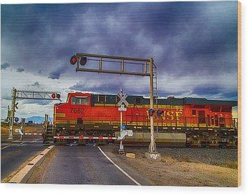 Bnsf 7682 Crossing Wood Print by Bartz Johnson