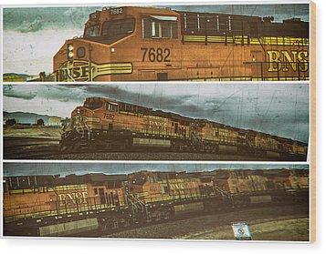 Bnsf 7682 Triptych  Wood Print by Bartz Johnson