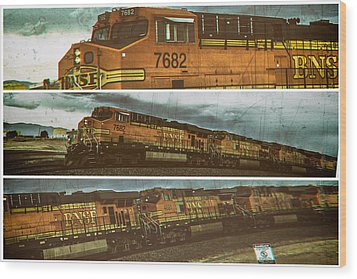 Wood Print featuring the digital art Bnsf 7682 Triptych  by Bartz Johnson