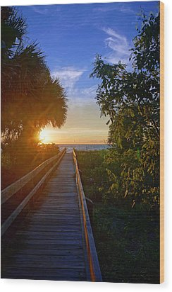 Sunset At The End Of The Boardwalk Wood Print by Robb Stan