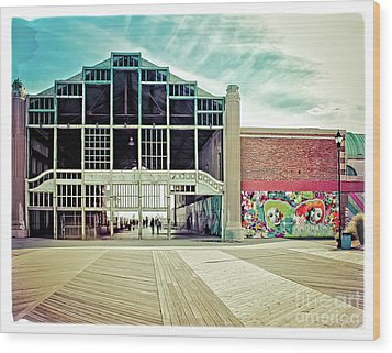 Wood Print featuring the photograph Boardwalk Casino - Asbury Park by Colleen Kammerer