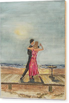 Boardwalk Dancers Wood Print by Miroslaw  Chelchowski