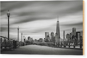 Boardwalk Into The City Wood Print by Eduard Moldoveanu
