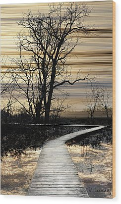 Boardwalk Wood Print by Joan Ladendorf